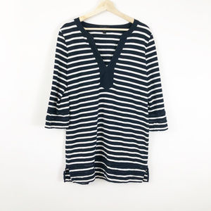 J. Crew Blue and White stripped Tunic Shirt Size M